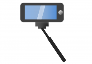 Phone attached to selfie-stick