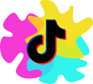 Pink, Yellow, and Blue color splats with TikTok logo on front